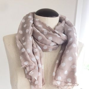 """Accessories - HUGE SCARF 24"""" X 78"""" TAUPE WHITE POLKA DOTS GAUZE"""